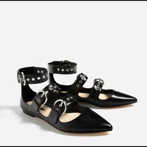 Zara Black Buckled Pointed Flats